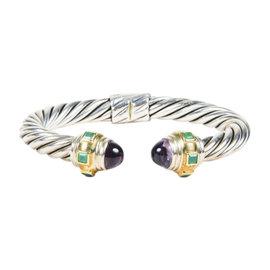David Yurman 925 Sterling Silver 14K Yellow Gold Amethyst & Green Onyx Bracelet