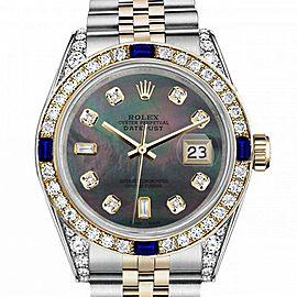 Men's Rolex 36mm Datejust Two Tone Jubilee Black MOP Mother Of Pearl 8 + 2 Diamond Accen Bezel + Lugs + Sapphire