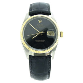 Rolex Datejust 16013 14K Yellow Gold and Stainless Steel with Black Dial 36mm Mens Watch