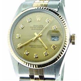 Rolex Datejust 16013 14K Yellow Gold & Stainless Steel Custom Diamond Automatic 36mm Mens Watch