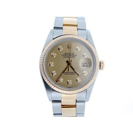 Rolex Datejust 16013 18K Yellow Gold and Stainless Steel with Champagne Dial 36mm Mens Watch