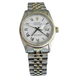 Rolex Datejust 16013 14K Yellow Gold and Stainless Steel with White Dial 36mm Mens Watch