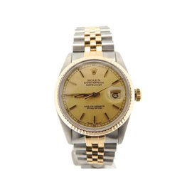 Rolex Datejust 16013 18K Yellow Gold and Stainless Steel with Gold Dial 36mm Mens Watch
