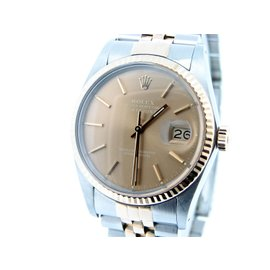 Rolex Datejust 16013 18K Yellow Gold and Stainless Steel with Bronze Dial 36mm Mens Watch