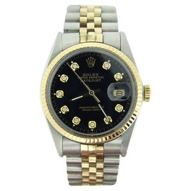 Rolex Datejust 16013 18K Yellow Gold and Stainless Steel with Black Diamond Dial 36mm Mens Watch