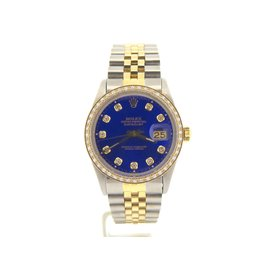 Rolex Datejust 16013 18K Yellow Gold and Stainless Steel with Blue Diamond Dial 36mm Mens Watch