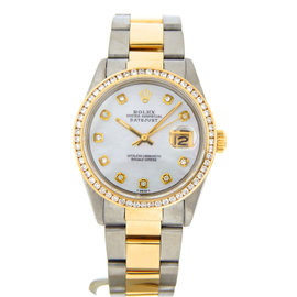 Rolex Datejust 16013 18K Yellow Gold and Stainless Steel with White Dial 36mm Mens Watch