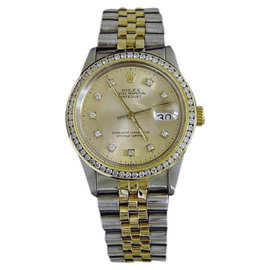 Rolex Datejust 16013 18K Yellow Gold and Stainless Steel with Champagne Diamond Dial 36mm Mens Watch