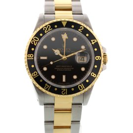 Rolex GMT-Master II 16713 18K Yellow Gold & Stainless Steel Black Dial Automatic 40mm Mens Watch