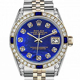 Men's Rolex 36mm Datejust Two Tone Jubilee Blue Color Treated MOP Mother Of Pearl Diamond Dial Bezel + Lugs + Sapphire