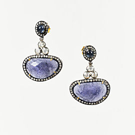 Rare Gems of India 925 Sterling Silver 18K Yellow Gold Sapphire Tanzanite .50ctw Diamond Earrings