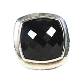 David Yurman Albion Sterling Silver & Black Onyx Cable Ring Size 6