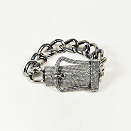 Rhodium Plated 925 Sterling Silver 5.80ctw Diamond Curb Chain Buckle Bracelet