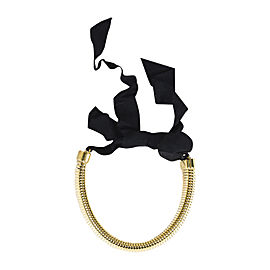 Lanvin Gold Tone Hardware with Black Ribbon Tie Necklace
