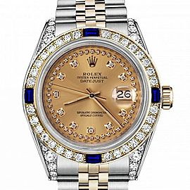 Men's Rolex 36mm Datejust Two Tone Jubilee Champagne Color String Diamond Accent Dial Bezel + Lugs + Sapphire 16013