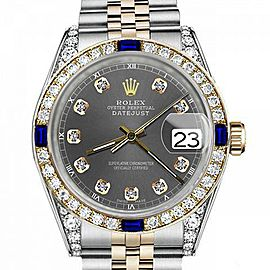 Men's Rolex 36mm Datejust Two Tone Jubilee Dark Grey Color Dial Diamond Accent Bezel + Lugs + Sapphire