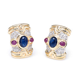 Vintage 14K Yellow Gold with 2.ct Sapphire, 0.80ct Ruby and 0.56ct Diamond Shrimp Earrings