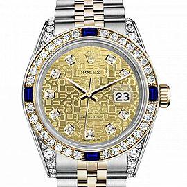 Men's Rolex 36mm Datejust Two Tone Jubilee Champagne Gold Jubilee Metal Plate Dial Bezel + Lugs + Sapphire