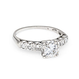 14K White Gold with 0.97ct. Diamond Engagement Ring Size 7.25