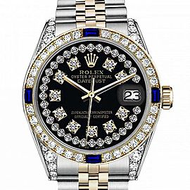 Men's Rolex 36mm Datejust Two Tone Jubilee Glossy Black String Diamond Accent Dial Bezel + Lugs + Sapphire