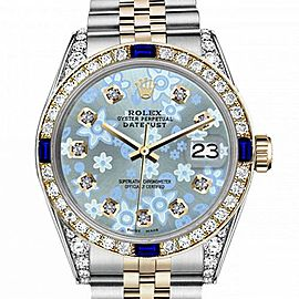 Men's Rolex 36mm Datejust Two Tone Jubilee Glossy Ice Blue Flower Dial Diamond Accen Bezel + Lugs + Sapphire