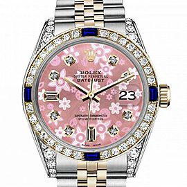 Men's Rolex 36mm Datejust Two Tone Jubilee Glossy Pink Flower Dial 8 + 2 Diamond Accent Bezel + Lugs + Sapphire