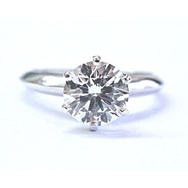 Tiffany & Co. 950 Platinum with 1.27ct Round Diamond Solitaire Engagement Ring Size 4.5
