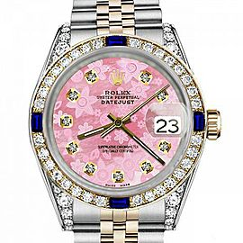 Men's Rolex 36mm Datejust Two Tone Jubilee Glossy Pink Flower Dial Diamond Accent Bezel + Lugs + Sapphire