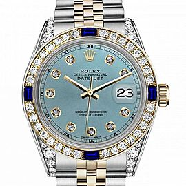 Men's Rolex 36mm Datejust Two Tone Jubilee Ice Blue Color Dial Diamond Accent RT Bezel + Lugs + Sapphire