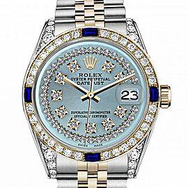 Men's Rolex 36mm Datejust Two Tone Jubilee Ice Blue String Diamond Dial Bezel + Lugs + Sapphire