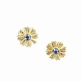 Arman Sarkisyan 22K Yellow Gold Blue Sapphire Diamond Sunburst Earrings