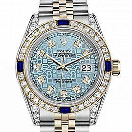 Men's Rolex 36mm Datejust Two Tone Jubilee Jubilee Ice Blue Color Dial Diamond Accent Bezel + Lugs + Sapphire