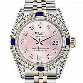 Men's Rolex 36mm Datejust Two Tone Jubilee Metallic Pink Diamond Dial Bezel + Lugs + Sapphire