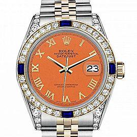 Men's Rolex 36mm Datejust Two Tone Jubilee Orange Color Roman Numeral Dial Bezel + Lugs + Sapphire