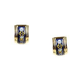 Hermes Gold Plated Metal Multicolor Enamel Huggie Hoop Earrings