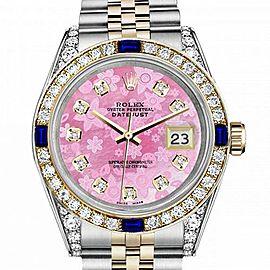 Men's Rolex 36mm Datejust Two Tone Jubilee Pink Flower MOP Dial Diamond Bezel + Lugs + Sapphire