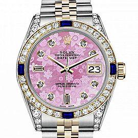 Men's Rolex 36mm Datejust Two Tone Jubilee Pink Flower MOP Mother of Pearl Dial 8+2 Diamond Bezel + Lugs + Sapphire