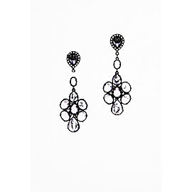 925 Sterling Silver White Topaz Amethyst Clustered Drop Earrings