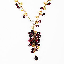 Marco Bicego 18K Yellow Gold Red Garnet 0.01ctw Diamond Necklace