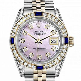 Men's Rolex 36mm Datejust Two Tone Jubilee Pink MOP Mother Of Pearl Dial Diamond Accent Bezel + Lugs + Sapphire
