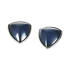 Yves Saint Laurent Silver Tone Metal and Blue Resin Clip On Oversize Trillion Earrings