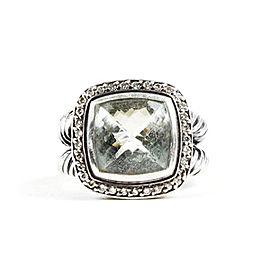 David Yurman Albion 925 Sterling Silver Prasiolite 0.22ctw. Diamond Ring