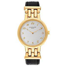 Patek Philippe Calatrava Yellow Gold Silver Arabic Dial Mens Watch 3915