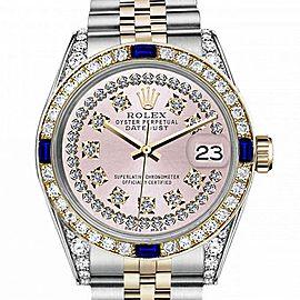 Men's Rolex 36mm Datejust Two Tone Jubilee Pink String Diamond Dial Vintage Style Marker Bezel + Lugs + Sapphire
