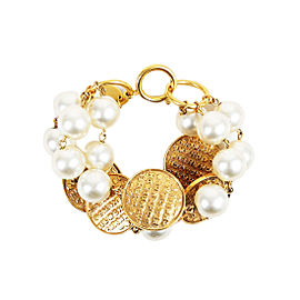 Chanel Gold Tone Simulated Glass Pearl Bracelet