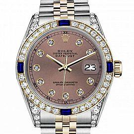 Men's Rolex 36mm Datejust Two Tone Jubilee Salmon Color Dial Diamond Accent RT Bezel + Lugs + Sapphire