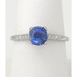 Tacori Platinum with 1ct Sapphire and 1/10ct Diamond Engagement Ring Size 7.5