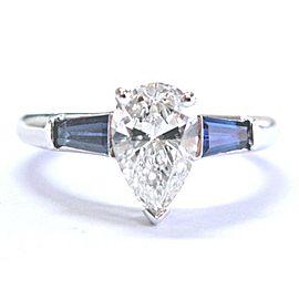 Tiffany & Co. Platinum Diamond Sapphire Engagement Ring Size 6