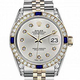 Men's Rolex 36mm Datejust Two Tone Jubilee Silver Color Diamond Dial Bezel + Lugs + Sapphire