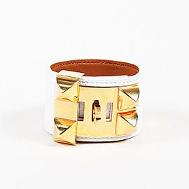 Hermes Leather Gold Tone Bracelet